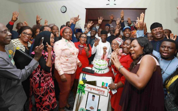 Osinbajo Celebrates Election Victory With His Staff (Photos)
